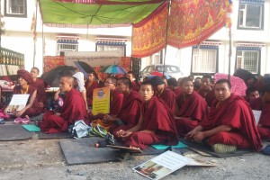Followers of Jonang tradition sit in protest outside the Tibetan Parliament-in-exile in Dharamshala, India, on 18 September 2015. They are demanding recognition of Janang as one of the sects of Tibetan Buddhism.