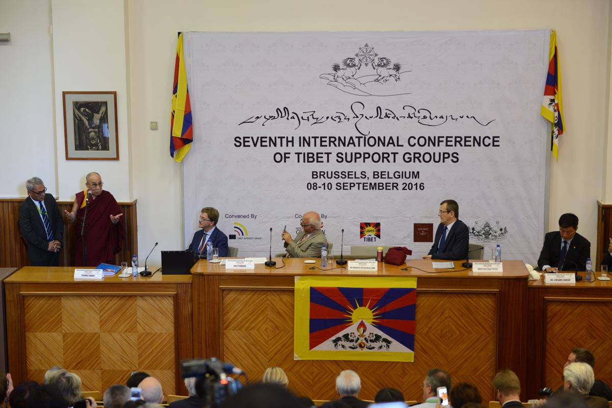 Tibetan spiritual leader, the Dalai Lama, speaks at the opening of the Seventh Tibet Support Group Meeting in Brussels, Belgium, on 8 September 2016.