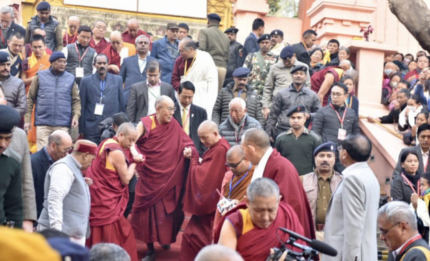 His Holiness the Dalai Lama makes pilgrimage to Mahabodhi Temple before departing for Delhi