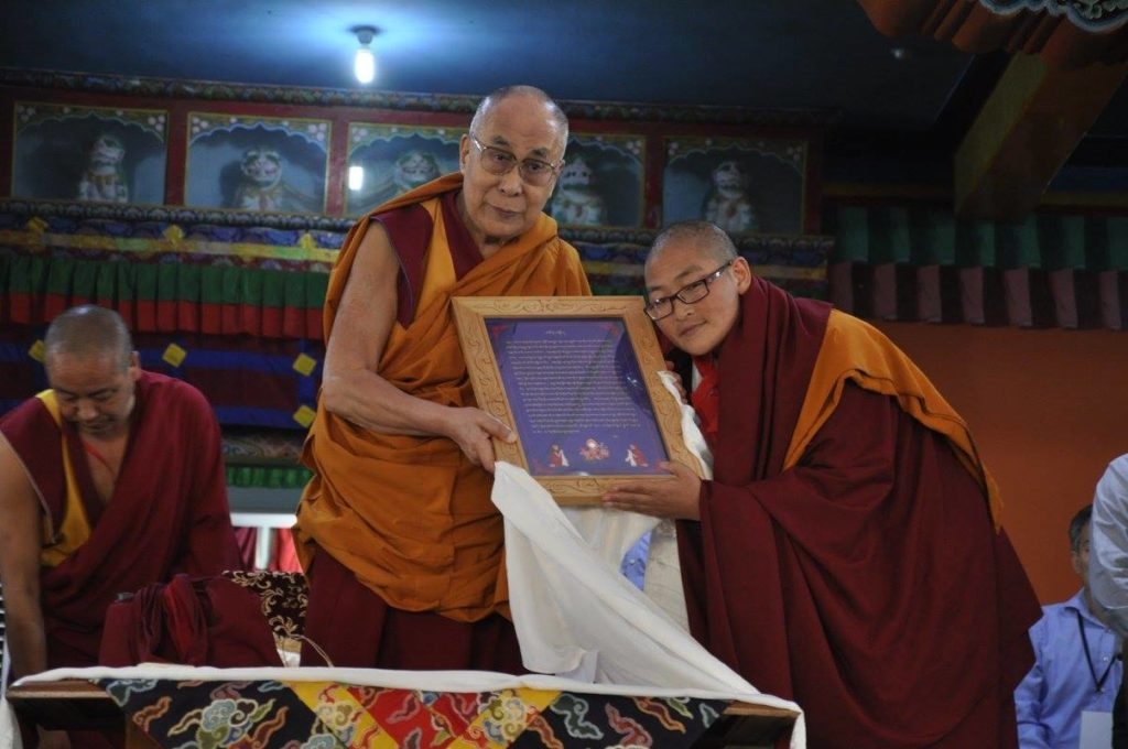 One of the twenty Tibetan Buddhist nuns receiving the Geshema degree from His Holiness the Dalai Lama, 22 December 2016.