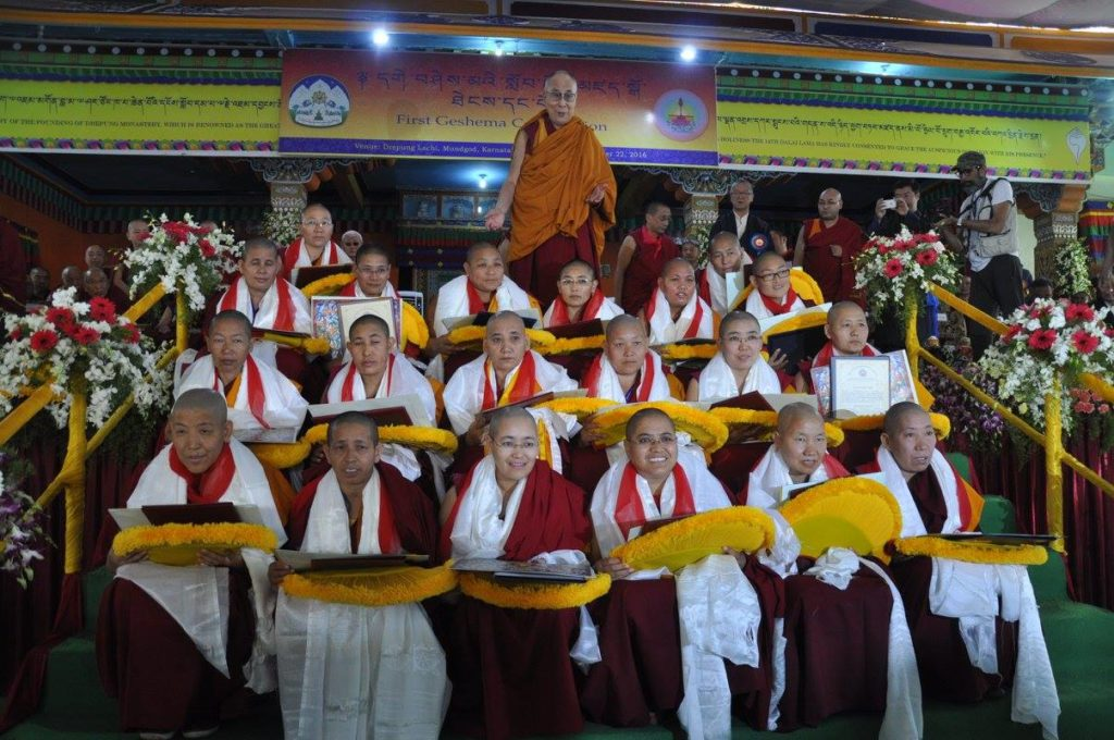His Holiness the Dalai Lama with the twenty Tibetan Buddhist nuns who received the Geshema degree, at Drepung monastery, Mundgod, 22 December 2016.