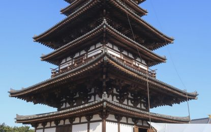 A national-treasure pagoda at Yakushiji, a Buddhist temple listed as a World Heritage site opened in Nara